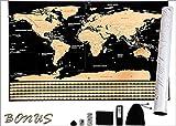Carte du Monde à Gratter avec Drapeaux-XXL-[82,5cm × 59,5cm]-Or Noire-Nouméro-Marque Française-New Edition Premium-Cadeau Original et Ludique-Pack Bonus Offert! Capitale-ville et sites historiques