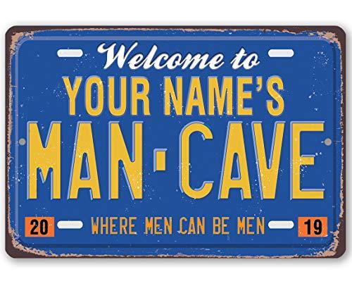 565pir Placa de Metal para matrícula de Hombre Personalizada, Uso en Interiores y Exteriores, Ideal como decoración para el hogar o la Cueva del Hombre