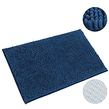 CHHKON 20X32 Thick Non-slip Bathroom Rugs, Absorbent Shag Bath Floor Mats │Machine Washable Shaggy Bath Mats, Microfiber Bathroom Mats, Dark Blue