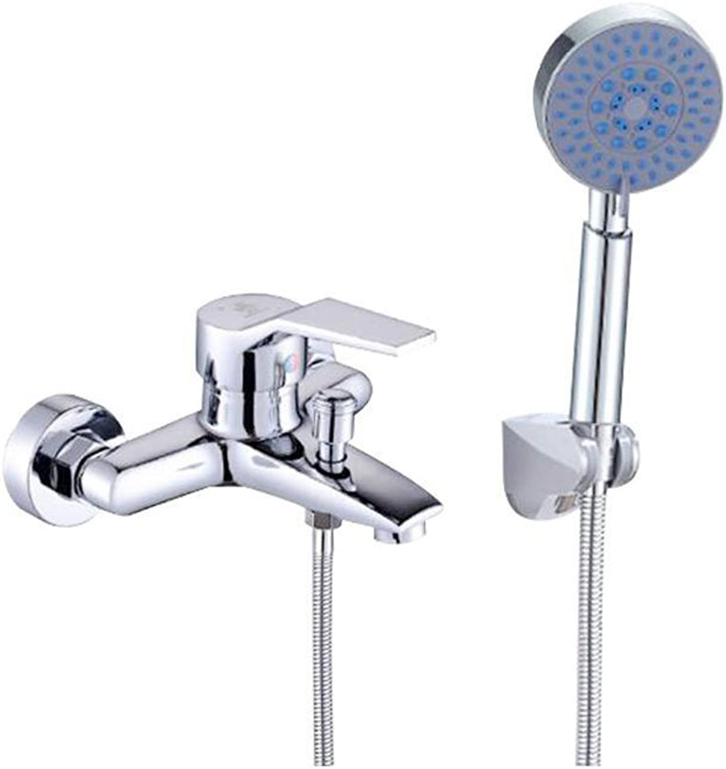 Bathing Simple Shower Suit Copper Faucet Shower Set Concealed Wall Entry Shower Head With Handheld Shower Separately