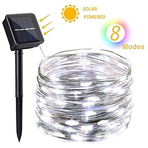 NEXVIN Guirnalda Luces Exterior Solares, 12m 100 LED Cadena de Luces de Alambre de Cobre, Guirnaldas luminosas Solar Impermeable para Decorar Arbol, Patio, Jardín, Terraza, Boda etc (Blanco)