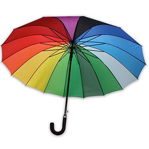 WOP ART XXL scherm Rainbow II paraplu partnerscherm regenboog Ø 120cm dames automatisch