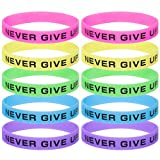 GOGO (Prix/10 pcs) Never Give Up Bracelets en Silicone, phosphorescents en...