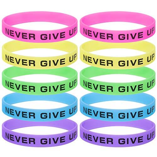 GOGO 10Pcs Leuchtende Fitness Armbänder Silikonarmbänder Gummiarmbänder Never Give Up