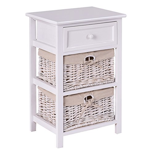 Giantex Wooden Nightstand 3 Tiers W/ 2 Baskets and 1 Drawer Bedside Sofa Storage Organizer for Home Living Room Bedroom End Table (1, White)