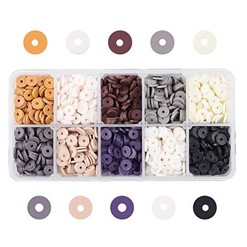 PandaHall Heishi - 2660 cuentas de arcilla polimérica redondas de 10 colores de 6 mm, hechas a mano, para pendientes, gargantilla, tobillera, collar, joyería, surfista de verano