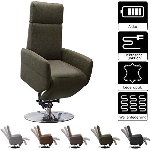Cavadore TV-Sessel Cobra / Fernsehsessel mit 2 E-Motoren, Akku und Aufstehhilfe / Relaxfunktion, Liegefunktion / Ergonomie S / 71 x 108 x 82 / Lederoptik Olive