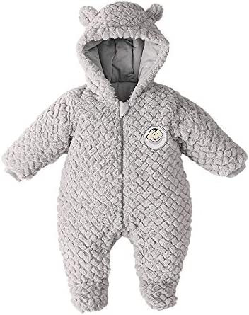DDY Baby Fleece Snowsuit Romper Hooded Footed Onesies Flannel Zipper Jumpsuit Winter Coat Outfit product image