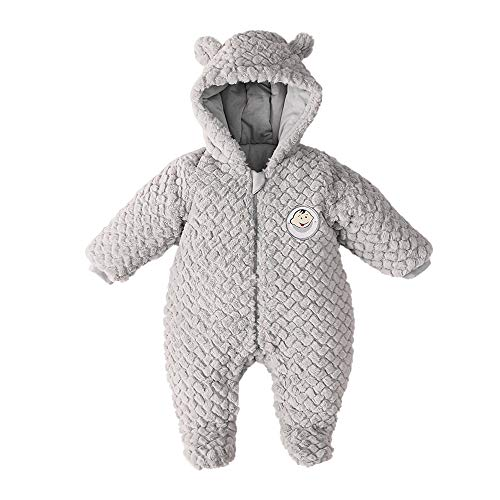 DDY Baby Fleece SnowsuitRomper Hooded FootedOnesies Flannel Zipper JumpsuitWinter Coat Outfit Suit for Baby Boy Girl Grey