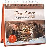 Kluge Katzen - Wochen-Kalender 2020: zum Aufstellen m. Fotos u. Zitaten, inspirierende Texte auf d. Rückseiten, Spiralbindung, 16,6 x 15,8 cm
