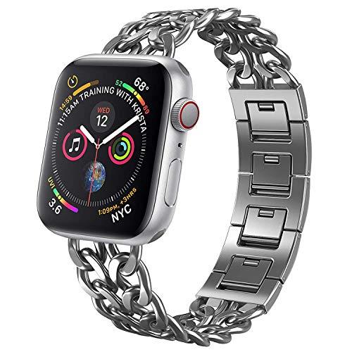 Estuyoya - Pulsera Esclava de Acero Inoxidable Compatible con Apple Watch Diseño Cadenas Cierre de Seguridad Ajustable Estilo Casual Elegante para 42mm/40mm iWatch Series 5/4 / 3/2 / 1 - Plata