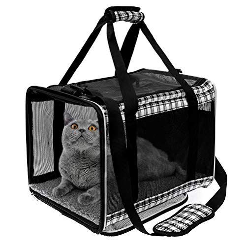 EXPAWLORER Large Cat Carrier - 17 inches Big Cat Carrier for Medium Large Cats Water-Proof, Escape-Proof, Soft-Sided Pet Carrier with Comfortable Pad, Fit for Puppy, 2 Small Cats