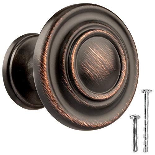 Pomos de bronce aceitado para gabinete de cocina, tiradores redondos con anillas, 25 unidades de accesorios para armario de cocina