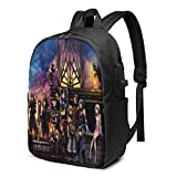 TeriDDeas Kingdom Hearts Anime Men's and Women Large Laptop Backpack 17 Inches,...