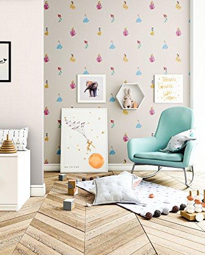 NEWROOM kinderbehang beige papierbehang mooie moderne en elegante look voor baby's, jongens of meisjes, inclusief behanggids kinderbehang beige Disney Ballerina kinderen effen effen