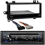 Kenwood Bluetooth USB AUX AM/FM Stereo CD Player Receiver, Radio Wiring Harness, Single DIN Installation Kit for Select 1974-2003 Chrysler, Dodge, Eagle, Jeep, Plymouth Vehicles
