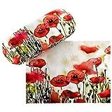 VON LILIENFELD Brillenetui Mohnblumen Hardcase Box Leicht Geschenk Stabil Set mit Putztuch Floral