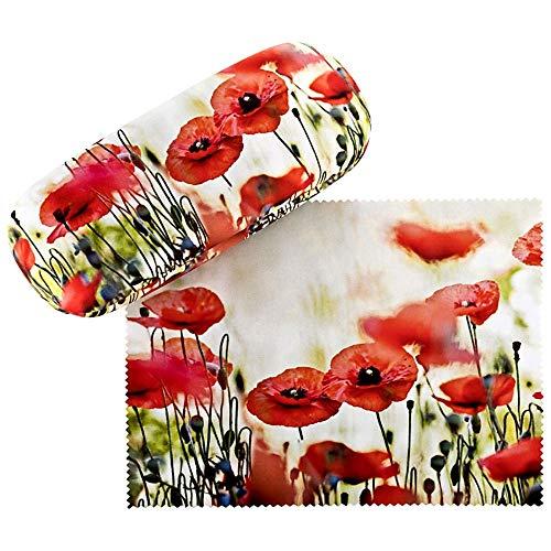 VON LILIENFELD Brillenetui Hardcase Geschenk Stabil Set mit Putztuch Damen Brillenputztuch Floral Mohnblumen