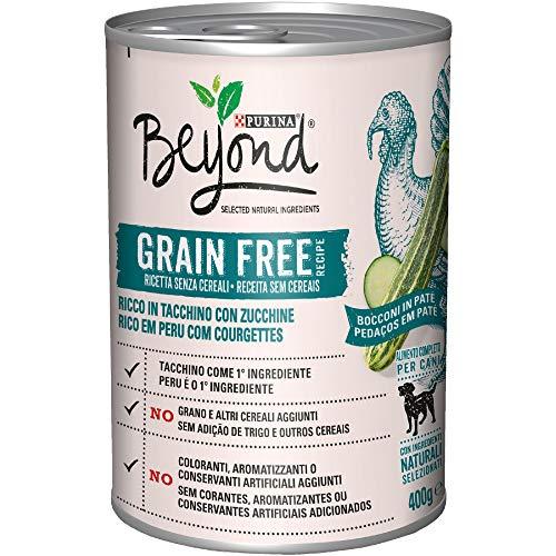 Purina Beyond Umido Cane Grain Free Bocconi in Patè con Tacchino e Zucchine, 12 Lattine da 400 g Ciascuna, Confezione da 12 x 400 g