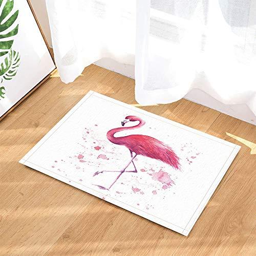 gohebe Bad Teppiche Hand Drawn Flamingo Pink Tropical Wildlife Artwork Druck Rutschfeste Fußmatte Boden Eingänge Innen vorne Fußmatte Kinder Badematte 39,9x59,9cm Badezimmer Zubehör