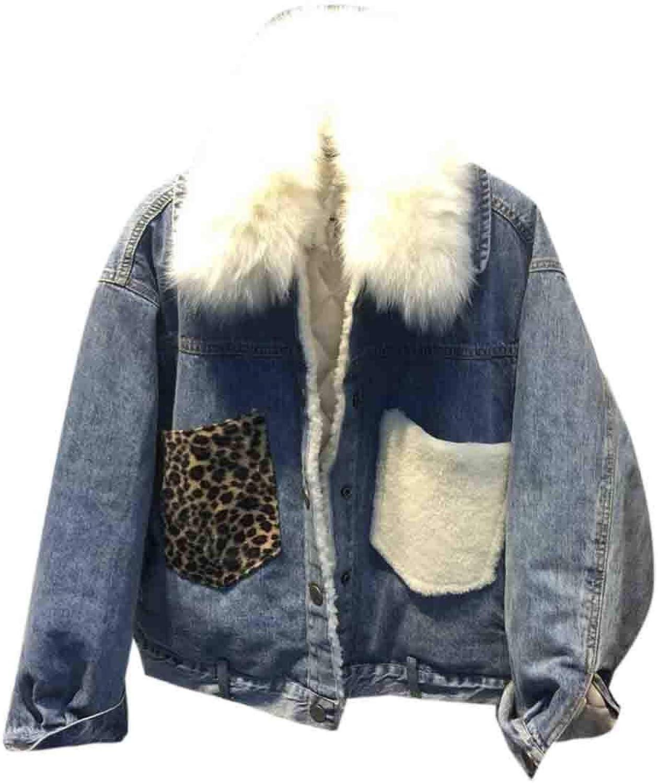 BYWX Women Faux Fur Collar Outerwear Thick Boyfriend Fleece Lined Denim Jacket Coat
