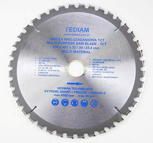 250x 32mm (30mm; 25,4mm; 22,23mm; 20mm) 40 ZähneUniversal Kreissägeblatt für Holz, Kunstoff, Metall