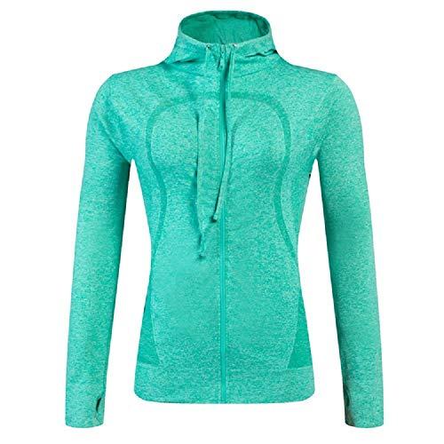 Toexy Beauty Lemedy Damen Lange Ärmel Running Kapuzenpullover mit Taschen Jacke voll Reißverschluss (Grün, 38 / Etikett-L)