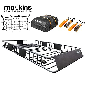 Mockins Roof Rack Rooftop Cargo Carrier with Cargo Bag and Bungee Net | The Steel Luggage Rack is 64  Long X 39  Wide X 6  Tall with A Hauling Weight of 200 Lbs & can be Reduced to 43  Long if Needed