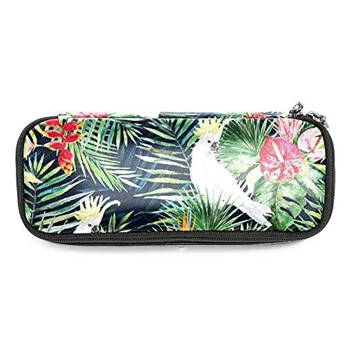 Estuche para lápices de acuarela con diseño de hojas de palma, color verde tropical, con gran capacidad para rotuladores, bolsa organizadora de maquillaje, para escuela, oficina, adulto, niña