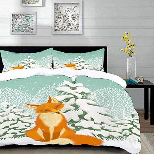 ropa de cama: juego de funda nórdica, zorro, zorro rojo sentado en el bosque de invierno, pinos nevados, dibujos animados de Navidad, naranja almendra blanca G, juego de funda nórdica de microfibra co