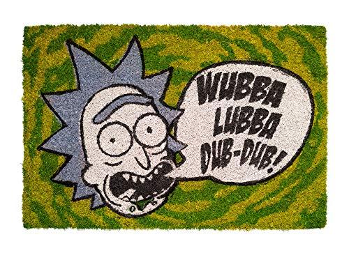 Felpudo Rick & Morty, Wubba Lubba - Felpudo entrada casa antideslizante 40 x 60 cm - Alfombra entrada casa exterior, Fabricado en fibra de coco - Productos con licencia oficial