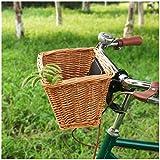 VPPV Cesta de Bicicleta Delantera Mimbre, Manillar Delantero Adultos Tejidas a Mano Desmontable Cesta Almacenamiento para Accesorios de Bici