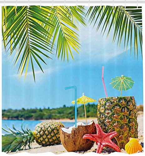 KUKUALE Blue Green Tropical Shower Curtain Fresh Summer Fruits Coconut And Pineapple Drinks At Exotic Beach Palm Trees Bathroom Curtain 180X180CM(71X71IN)
