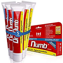 5 Tubes of Dr. Numb Maximum Topical Anesthetic Anorectal Cream, Lidocaine 5%