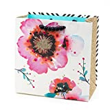 Hallmark Signature 7' Medium Gift Bag (Watercolor Poppies and Black and White Stripes) for Birthdays, Mothers Day, Bridal Showers or Any Occasion
