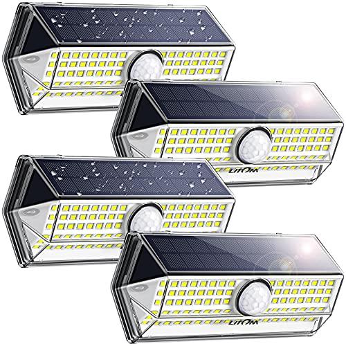 Luci Solari per Giardino, [4 Modalità 4 Pezzi]LITOM Versione Aggiornata luce solare led esterno IP67 impermeabile,Parete Wireless Risparmio Energetico[Classe di efficienza energetica A+++]