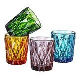 Simpleword, set di 4 bicchieri colorati per whisky, borboni, acqua, bevande, cocktail