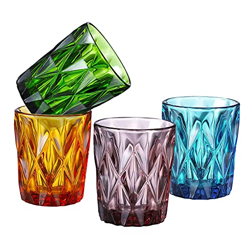 Vintage Old Fashioned Glasses,10 oz Set of 4 Cocktail Glasses with Diamond Pattern,Colored Glass Tumblers for Liqueur,Juice,Water,Beverage,Barware,Cocktail -  SIMPLEWORD