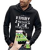 PIXEL EVOLUTION Sweat à Capuche 3D Rugby Texte Personnalisable en Réalité Augmentée Homme - Taille XL - Noir