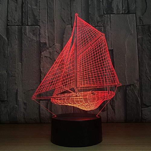 Creatieve 3D-nachtlampjes met bonte zeilen, bedlampjes, 7 lampjes, 3D-kleuren, thuisdecoratie
