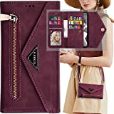 Iphone 6S Plus Wallet Case with Shoulder Strap,Auker 9 Card Holder Trifold Crossbody Purse Feature Flip Leather Magnetic Wallet Clutch Case with Zipper Money Pocket Folding Stand Handbag Case Women
