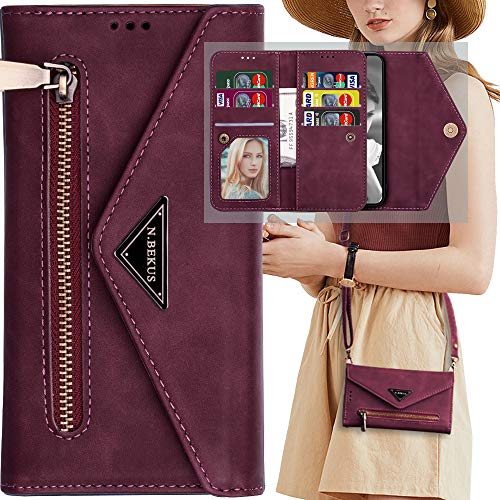 powerful Wallet for Galaxy A30 / A20, with shoulder strap, wallet with magnetic zipper, shoulder strap Auker 9 Card…