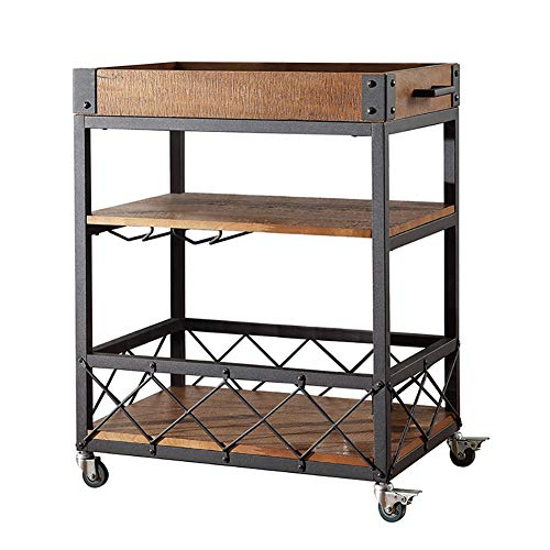 Iron Hotel Dining Car, Sideboard Home Kitchen Rack Storage Rack Wine Cart with Wheels, Multi-Function Shelves(603575cm)