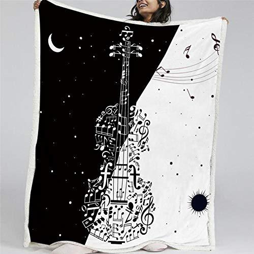Pmhhc viool pluche deken zwart wit stijlvolle dekens voor bedden sterrenbeeld zon en maan gooien deken nieuw