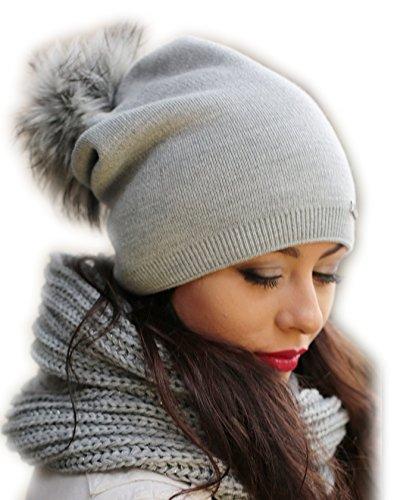 Damen Frauen Strickmütze Beanie mit Fellbommel Herbst Winter Bommelmütze mit großem Kunstfellbommel (ZI) (Grau)