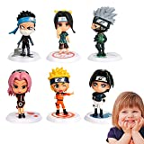 Yisscen Mini Figure Set Naruto Figure Decorazione Torta Decorazione Torta per Feste Forniture Figure Giocattolo Set Figure da Collezione per Anniversario di Compleanno (6 Pezzi)