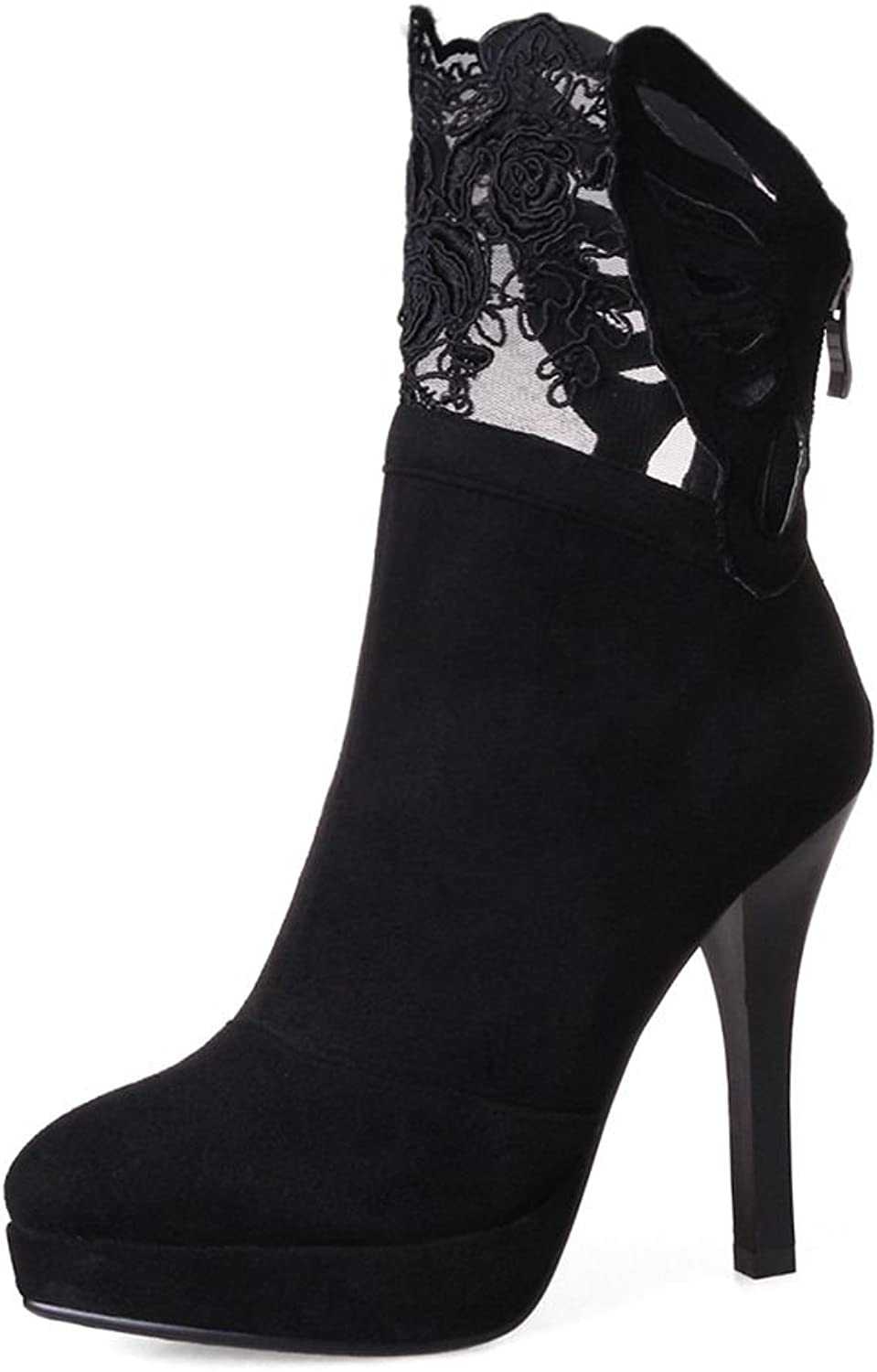 KingRover Women's Platform Thin High Heel Lace Suede Boots