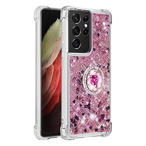 Carcasa para Samsung Galaxy S21 Ultra 5G, brillante cristal diamante, soporte de teléfono líquido degradado transparente, silicona TPU antigolpes, carcasa (oro rosa)