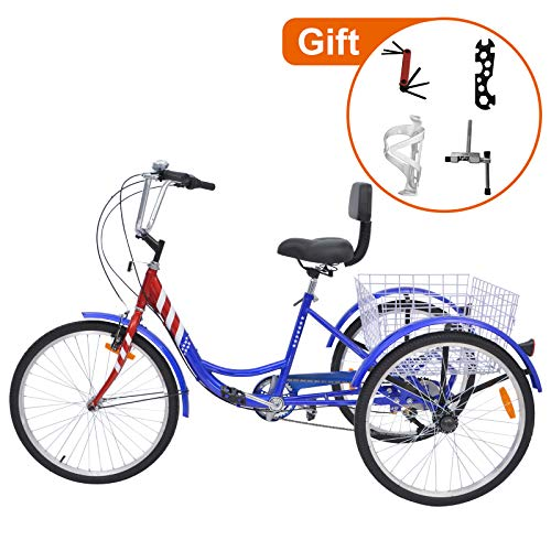 Barbella Adult Tricycle, 24-Inch Single and 7 Speed Three-Wheeled Cruise Bike with Large Size Basket for Recreation, Shopping, Exercise Men's Women's Bike(7    Speed USA Flag)