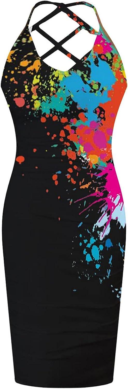 Women Sexy Bodycon Dresses Tie Dye Print Backless Spaghetti Straps Dress Criss Cross Hollow Midi Party Cocktail Dress